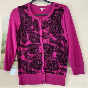 Halogen Faux Lace 3/4 Sleeve Cardigan Sweater